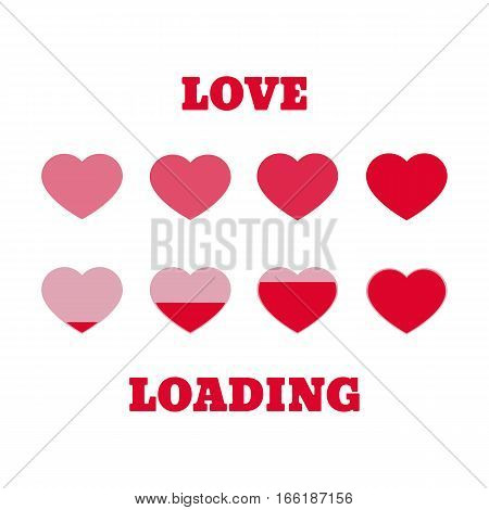 Valentine's day loading. Progress bar design. Red and pink hearts on a white background.