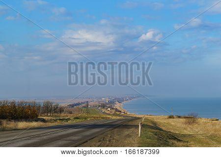 The road on the Taman Peninsula along the sea. The village of Golubitskaya Azov sea.