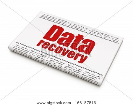 Data concept: newspaper headline Data Recovery on White background, 3D rendering