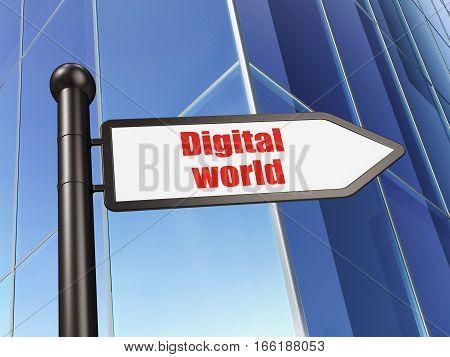 Information concept: sign Digital World on Building background, 3D rendering
