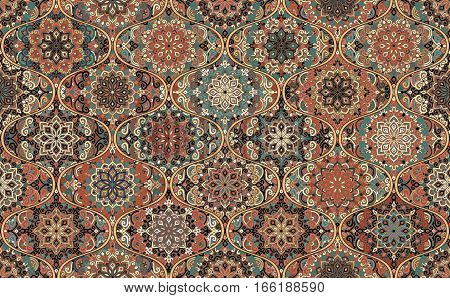 Seamless Pattern Brown Background. Intricate vintage design. Stylized flower mandala elements. Boho ogee tile. Complex decorative ornament. Traditional oriental interior fabric print, wallpaper, floor