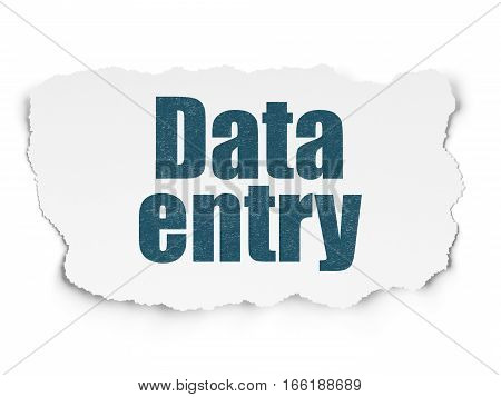 Information concept: Painted blue text Data Entry on Torn Paper background with  Tag Cloud