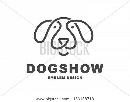 Dog head logo - vector illustration, emblem design on white background