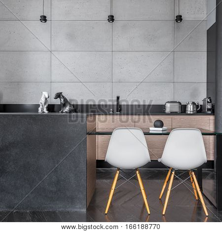 Kitchen With Grey Wall Tiles