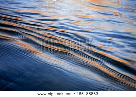 abstract background blurred ripples on the lake early evening