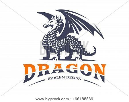 Dragon logo - vector illustration, emblem design on white background