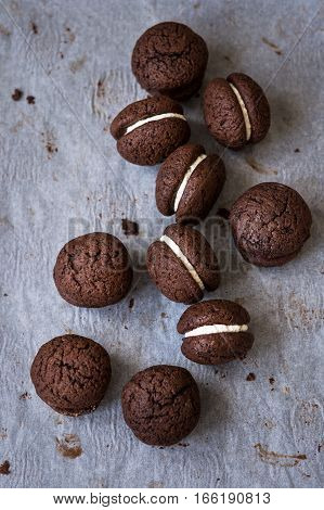 Chocolate chestnut double cookies on a piece of paper