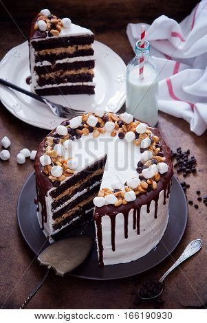 Chocolate Cake with peanut, caramel, chocolate chip and marshmallow