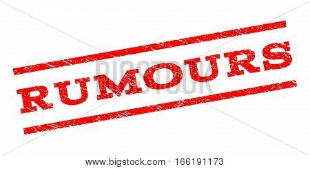 Rumours watermark stamp. Text tag between parallel lines with grunge design style. Rubber seal stamp with dust texture. Vector red color ink imprint on a white background.