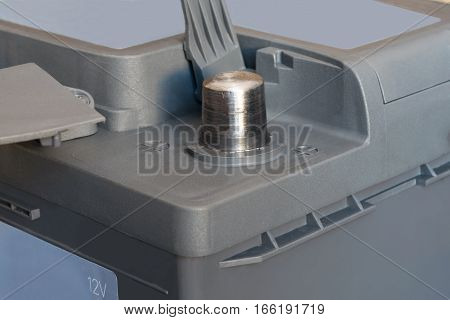 battery terminal for a car close up