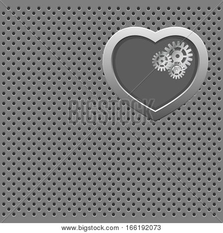 Vector modern valentines day background. Concept heart with gears. Mechanical Silver heart.