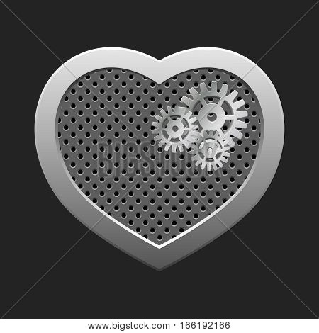Vector modern valentines day background. Concept heart with gears. Mechanical heart. Silver heart.