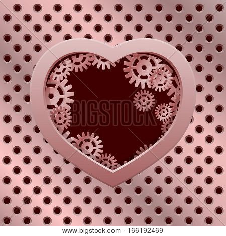 Vector modern valentines day background. Concept heart with gears. Mechanical heart. Rose gold