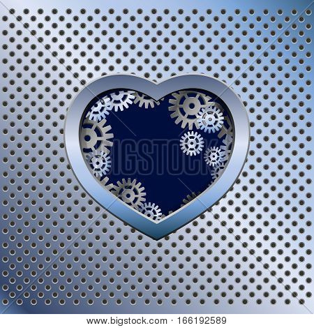 Metal light background with iron heart and gears. Valentine day. Blue color.