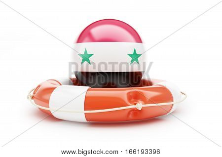 lifeline of the Flag of Syria. 3D illustration on a white background