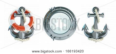 Set Anchor Life Buoy porthole broken 3d Illustrations on a white background