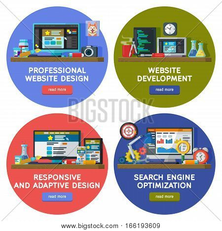 Web design and site elements templates in circles. Set banners in flat style. Website and apps development. Web design. Programming and coding. Search optimization SEO. responsive and adaptive design