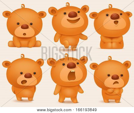 Creation set of teddy bear characters with different emotions. Vector illustration