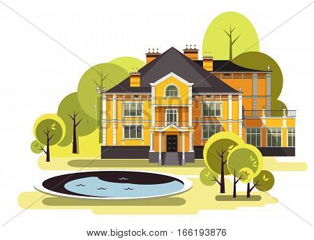 vector illustration of a two-storey country mansion with a garden around it landscaped garden maze trees and bushes in the sky