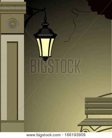 vector illustration of an evening city street dark lamp illuminated a small portion of the house wall bench
