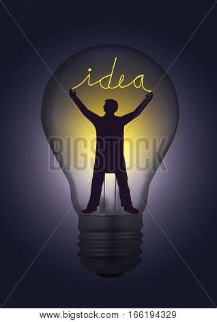 Light bulb idea concept. Illustration of Light bulb with male silhouette and sign idea.