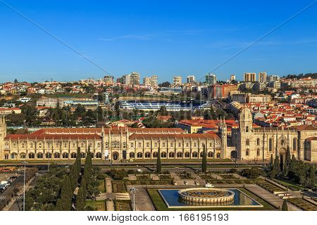 Aerial view of Mosteiro dos Jeronimos located in the Belem district of Lisbon Portugal.