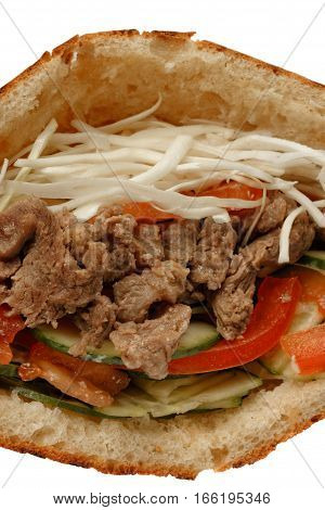 Closeup of doner kebab sandwich with beef meat
