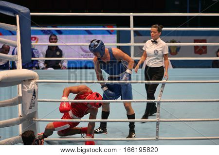 St. Petersburg Russia November 21 2016 AIBA Youth World Boxing Championships men Boxing knockdown