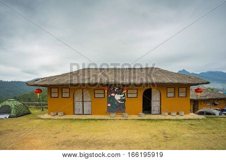 MAE HONG SON, THAILAND - JAN 2, 2017: Chinese style house at the viewpoint at YUN LAI viewpoint, Thailand on January 2, 2017, in MAE HONG SON, THAILAND