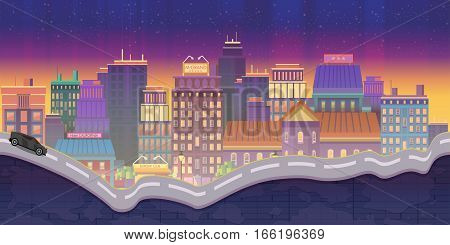 City Illustrations for games, Night Background, 2d game application. Illustration for your application , project.