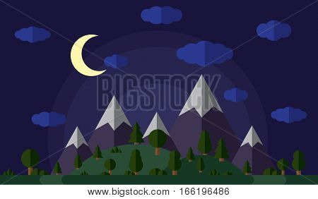 vector illustration of the high mountains and hills covered in green forest, moonlit night, a clear starry sky with clouds.