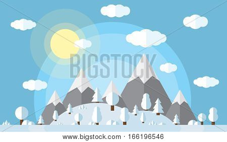 vector illustration of the high mountains and hills, the forest covered in snow, clear winter day, the sun in the clear sky with fluffy clouds.