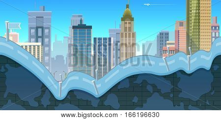 City Game Background with mountains and retro old cars , 2d game application. Vector Illustration for your application , project.