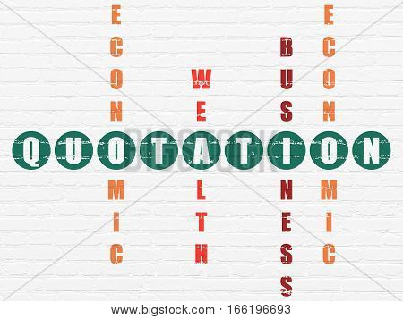 Banking concept: Painted green word Quotation in solving Crossword Puzzle