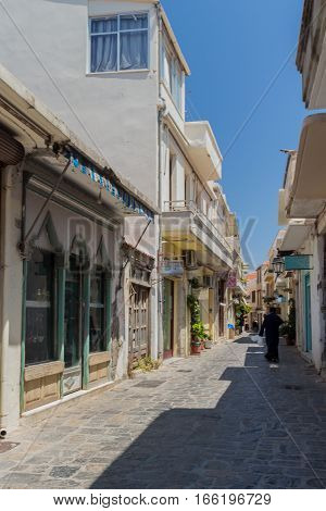 Rethymno, Greece. July  28, 2016: Narrow Venetian Streets In Old City Of Rethymno.