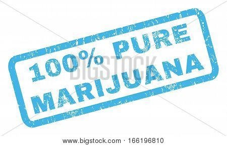 100 Percent Pure Marijuana text rubber seal stamp watermark. Tag inside rectangular banner with grunge design and unclean texture. Inclined vector blue ink sticker on a white background.