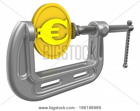 The crisis of the European economy. Gold coin with the symbol of the European currency is clamped in the clamp. Financial concept. Isolated. 3D Illustration