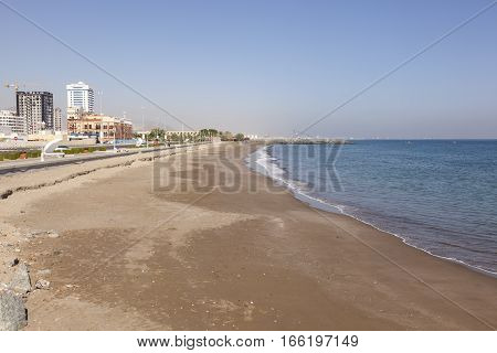 Beach and waterfront promenade in the city of Fujairah United Arab Emirates