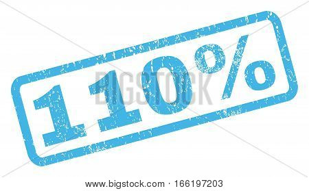 110 Percent text rubber seal stamp watermark. Caption inside rectangular shape with grunge design and scratched texture. Inclined vector blue ink sign on a white background.