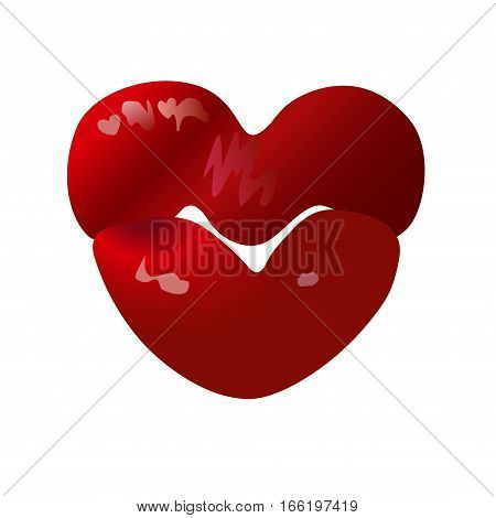 Heart shaped female lips, love symbol. Vector graphic design for Valentine's Day greeting card, t-shirt, cosmetic ads etc.