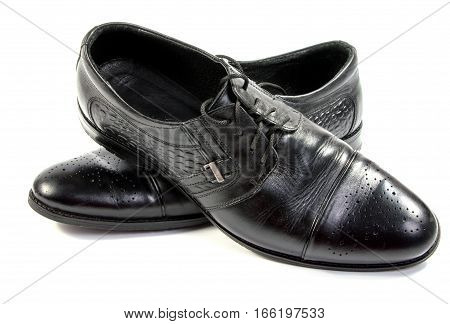 Male black shoes isolated on white ,