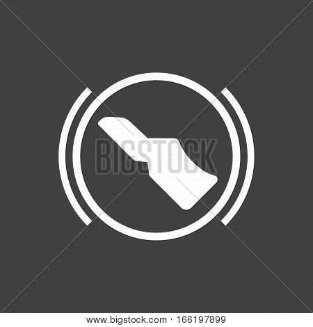 Vector illustration of a sign on the car dashboard on a gray background. The icon indicates press the brake pedal. Design of button