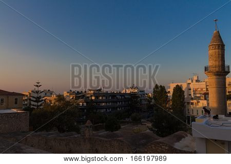 Rethymno, Greece - July  28, 2016: Panoramiv View To Rethymno
