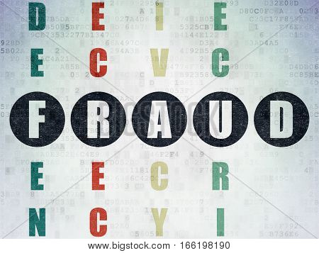 Protection concept: Painted black word Fraud in solving Crossword Puzzle on Digital Data Paper background