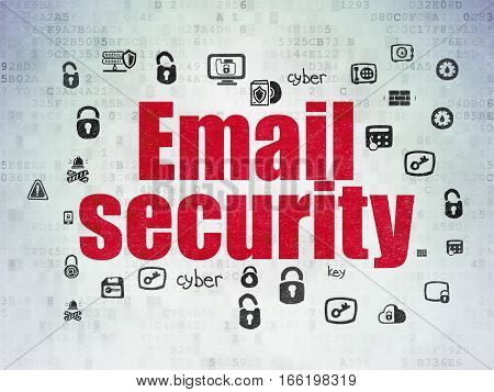 Security concept: Painted red text Email Security on Digital Data Paper background with  Hand Drawn Security Icons