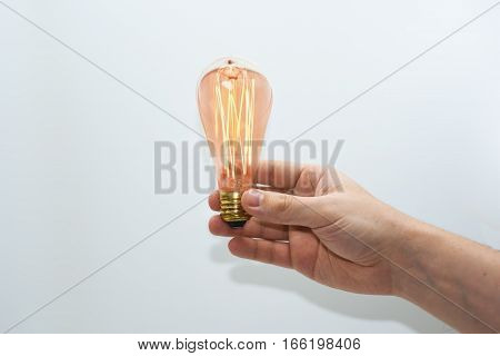 Abstract idea of electric lamp 35W. Isolated on white background.