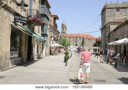CAMBADOS, SPAIN - AUGUST 8, 2016: Urban scene in Cambados a town of the province of Pontevedra in Galicia Spain.