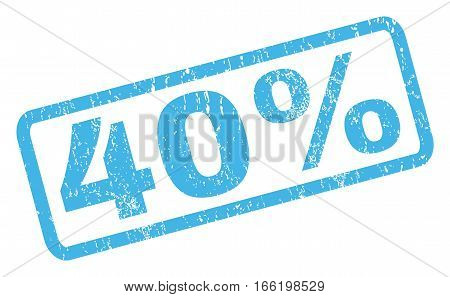 40 Percent text rubber seal stamp watermark. Tag inside rectangular shape with grunge design and dust texture. Inclined vector blue ink sticker on a white background.