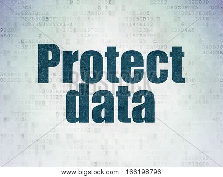 Safety concept: Painted blue word Protect Data on Digital Data Paper background