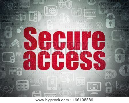 Safety concept: Painted red text Secure Access on Digital Data Paper background with   Hand Drawn Security Icons